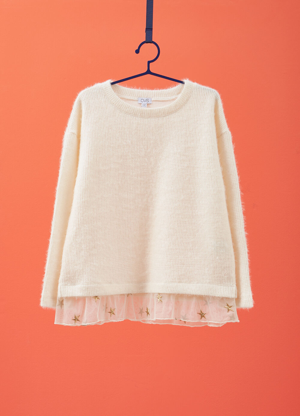 Knitted pullover with tulle