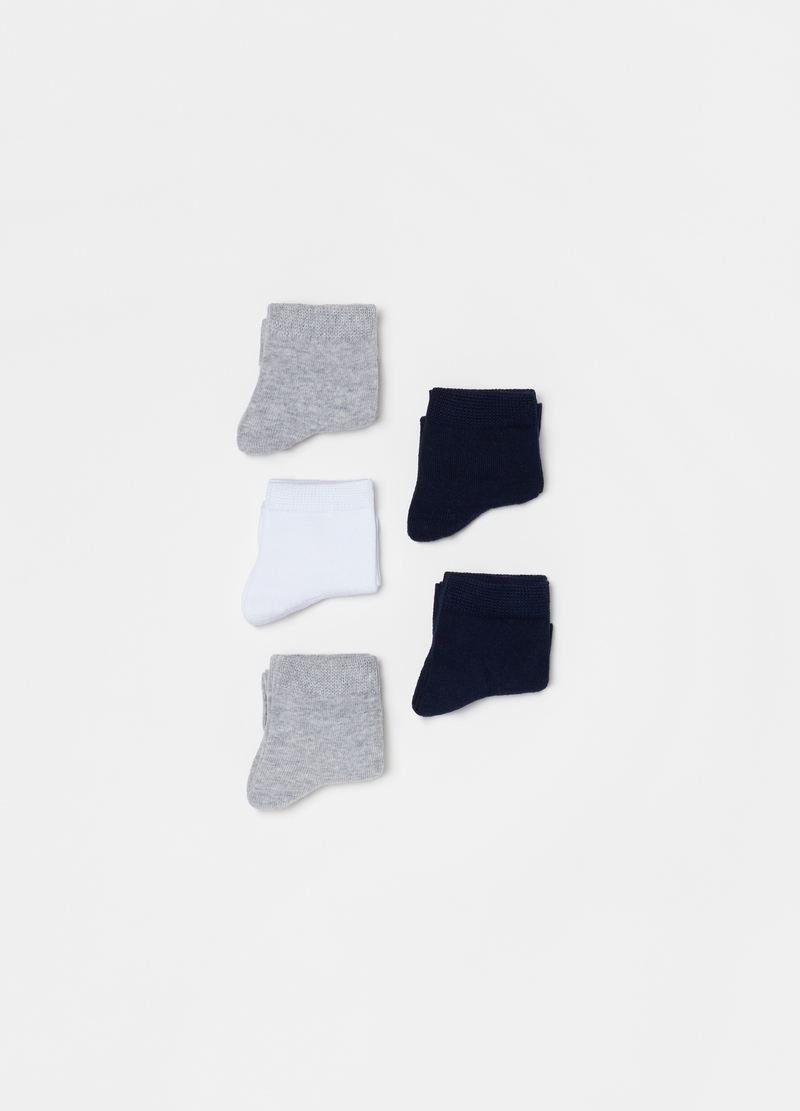 Five-pair pack of short cotton blend socks image number null