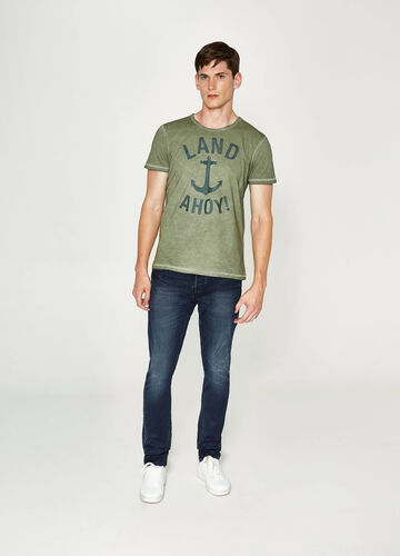 Cotton T-shirt with faded seems