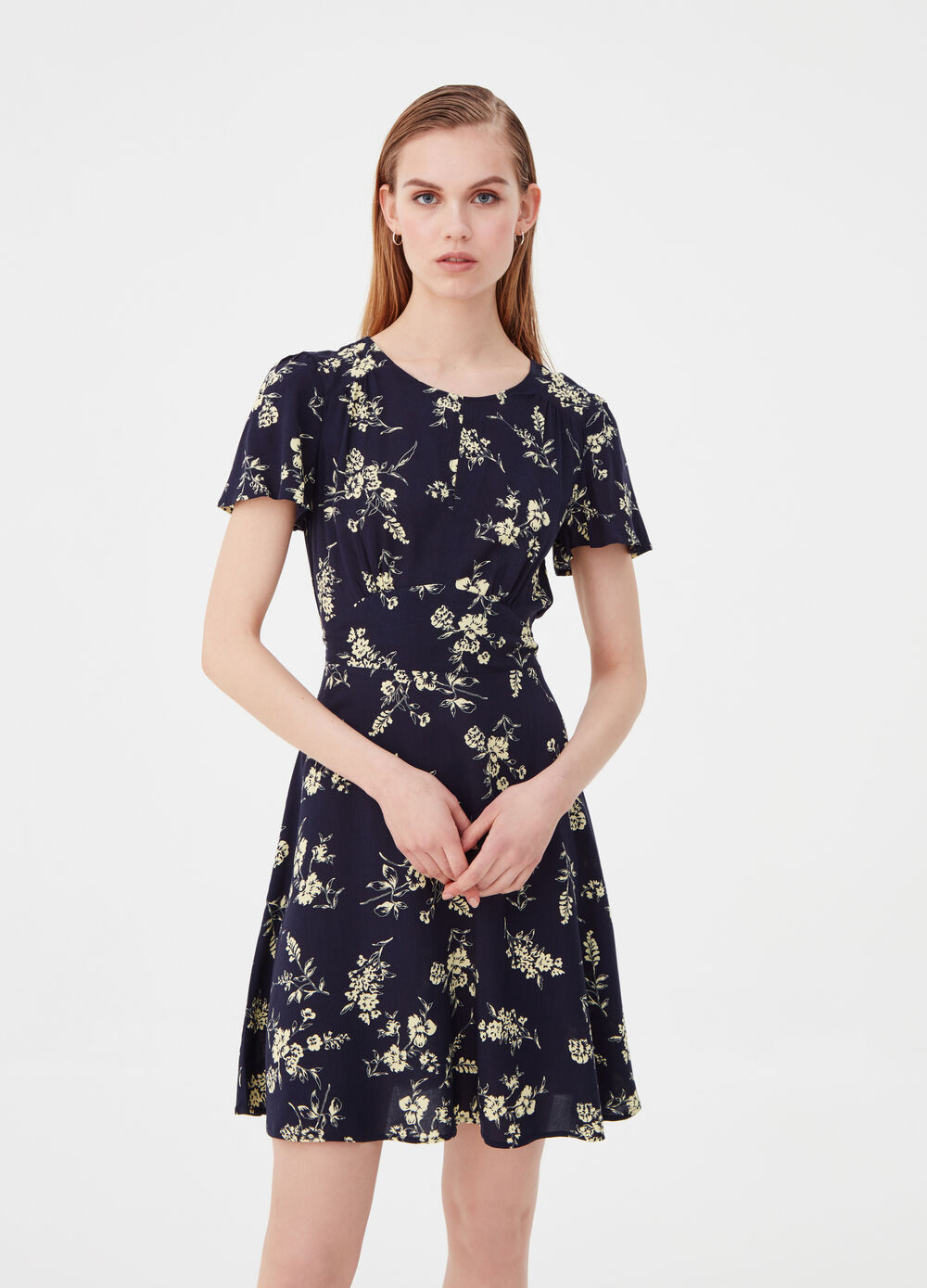 Floral dress with knotted belt