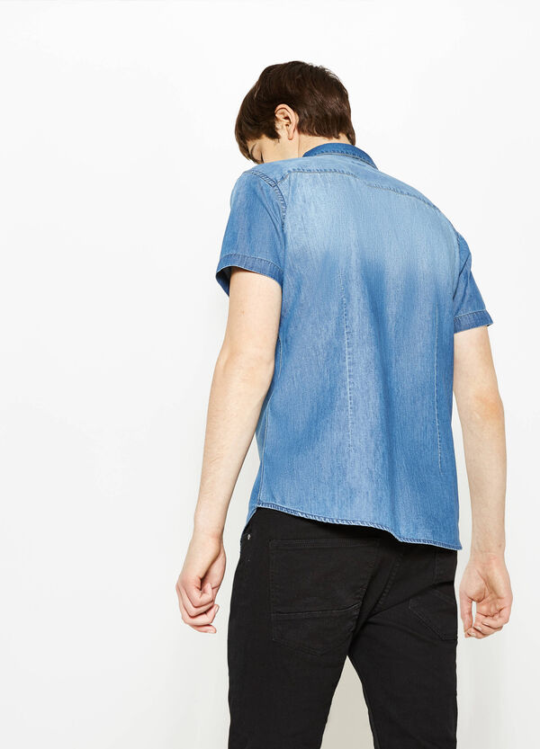 Slim-fit casual denim shirt with short sleeves | OVS