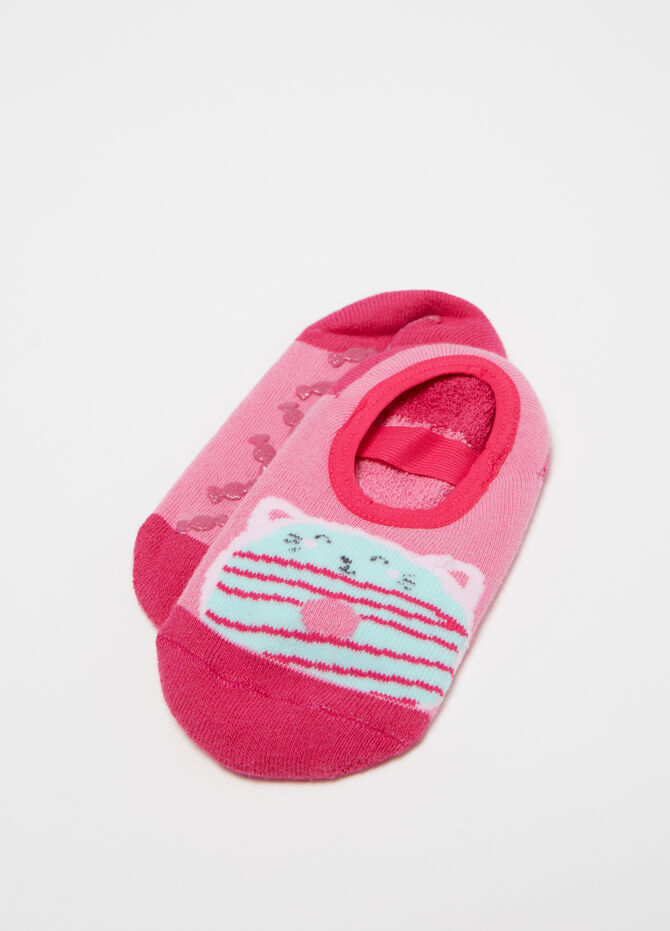 Stretch slipper socks with kitten print