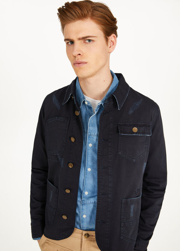 Denim jacket with abrasions
