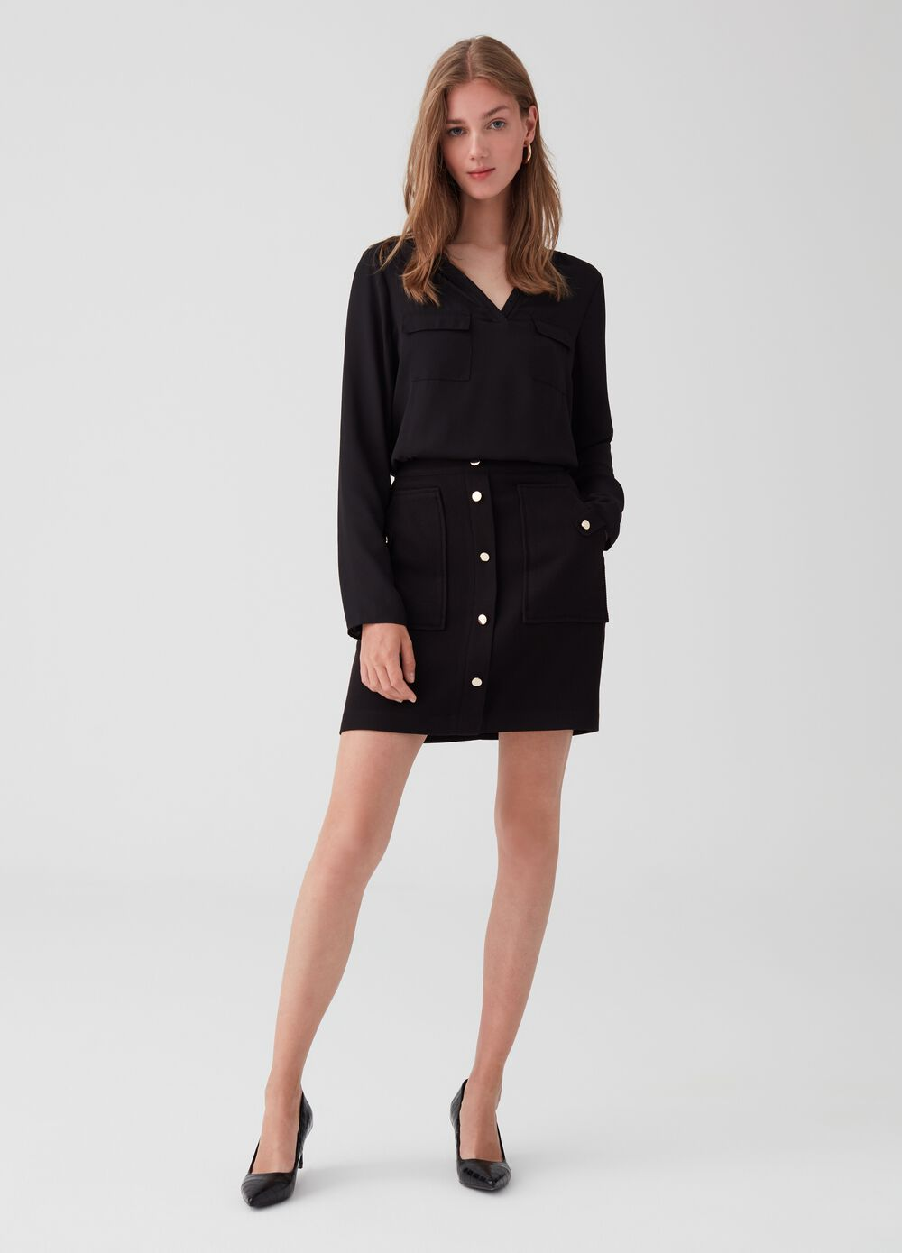 Stretch miniskirt with buttons