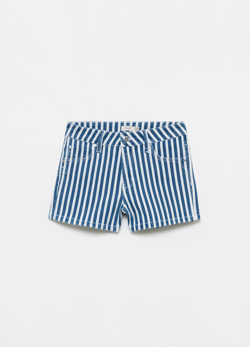 Stretch denim shorts with stripes image number null
