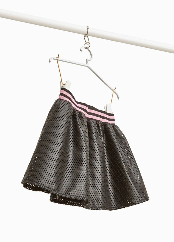 Leather-look openwork skirt with pleats