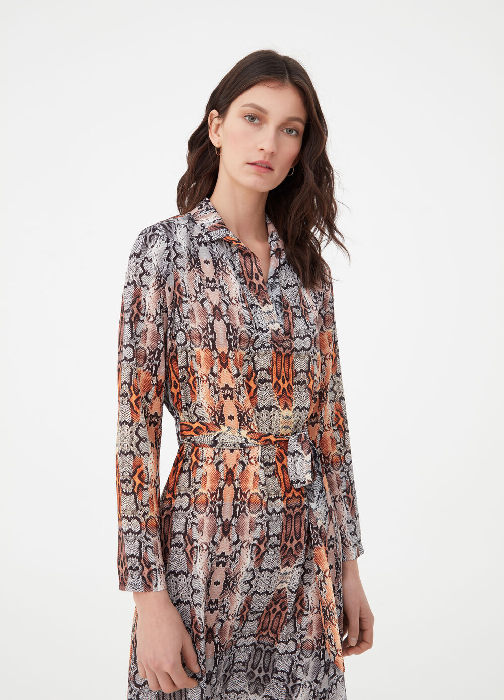 Dress with V opening and python pattern