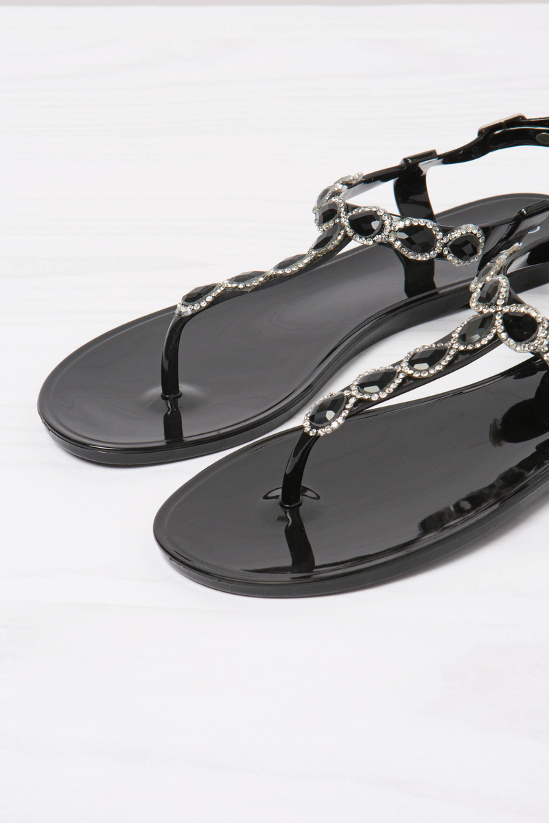 Thong sandals with strap and diamantés image number null