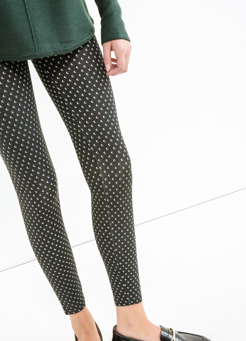 Stretch cotton leggings with all-over print image number null