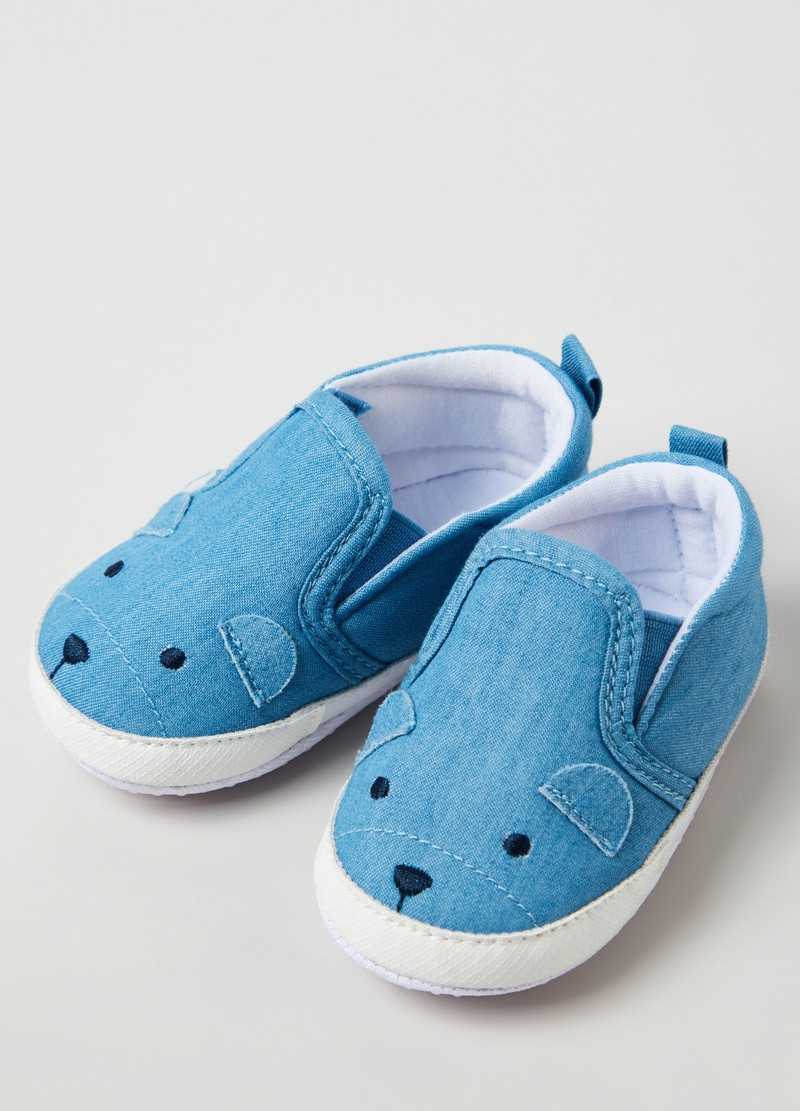 Denim shoes with mouse embroidery image number null