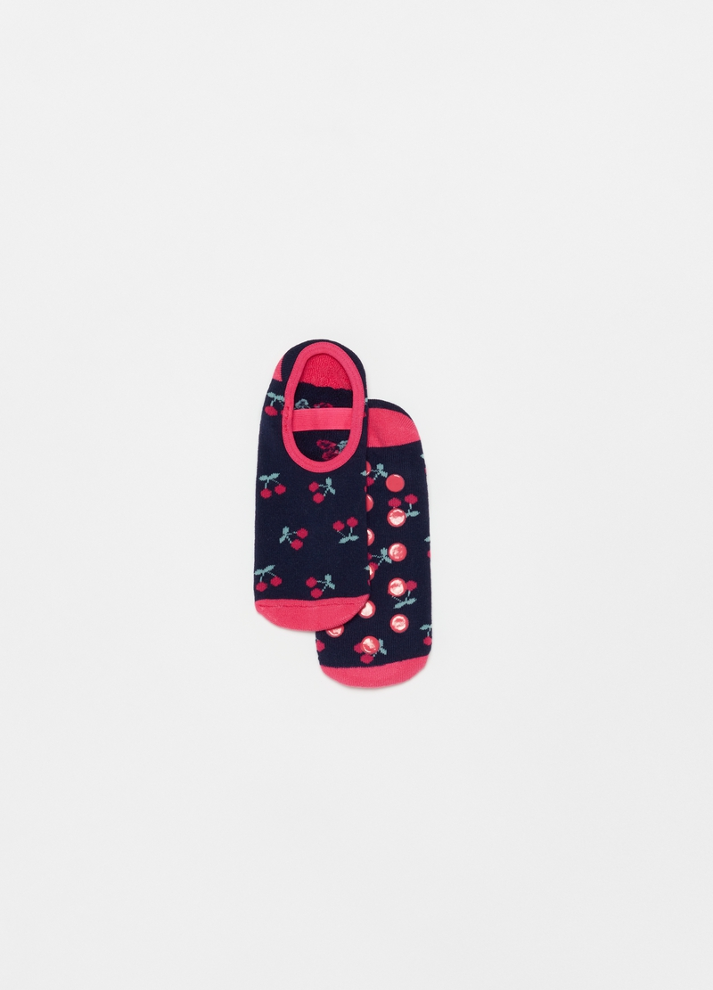 Slipper socks with cherries pattern image number null