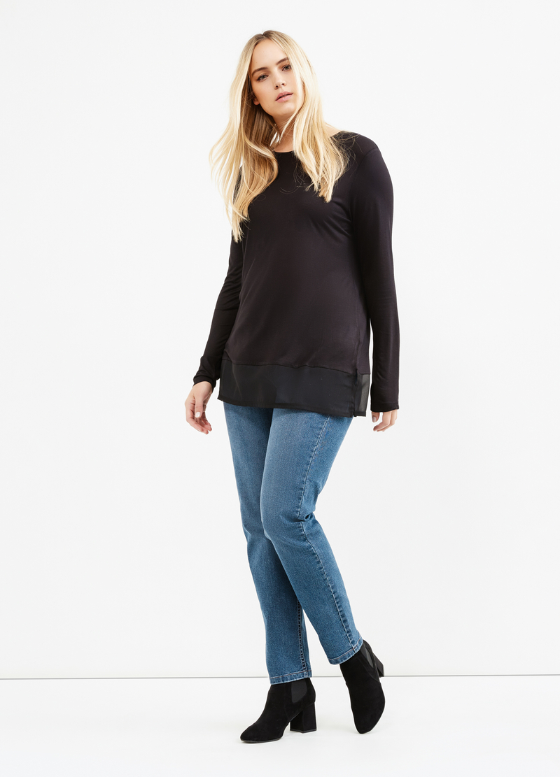 Curvy faux layered effect viscose blend T-shirt image number null