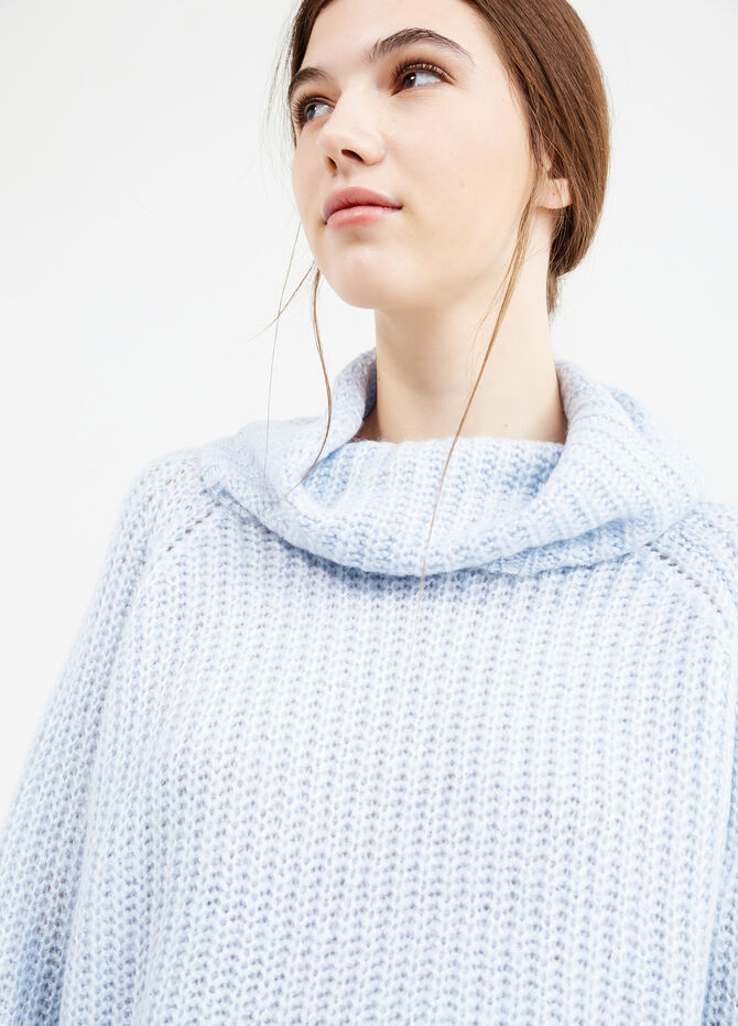 Chunky knit pullover with high neck