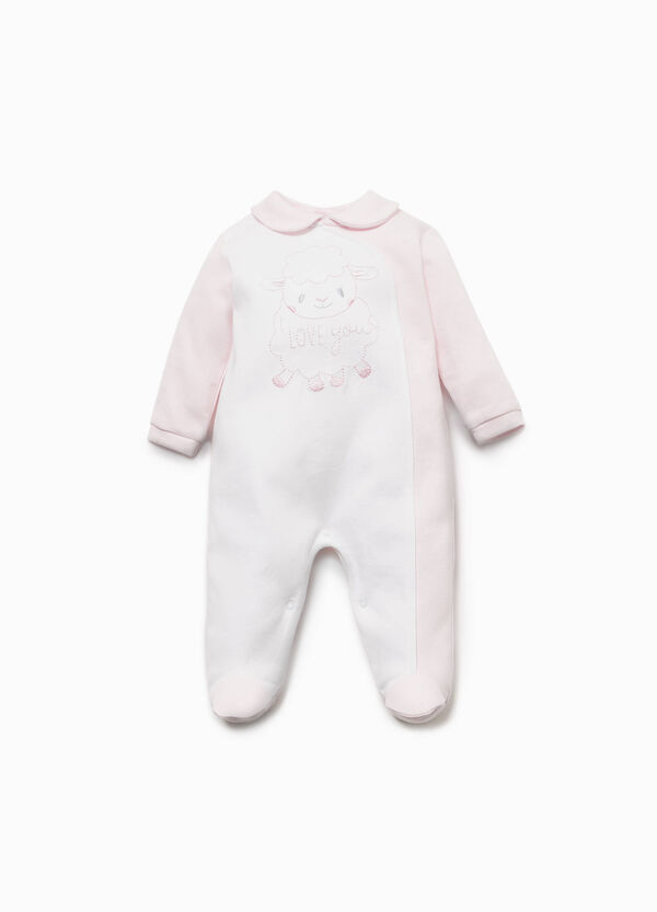 Two-tone onesie with sheep embroidery