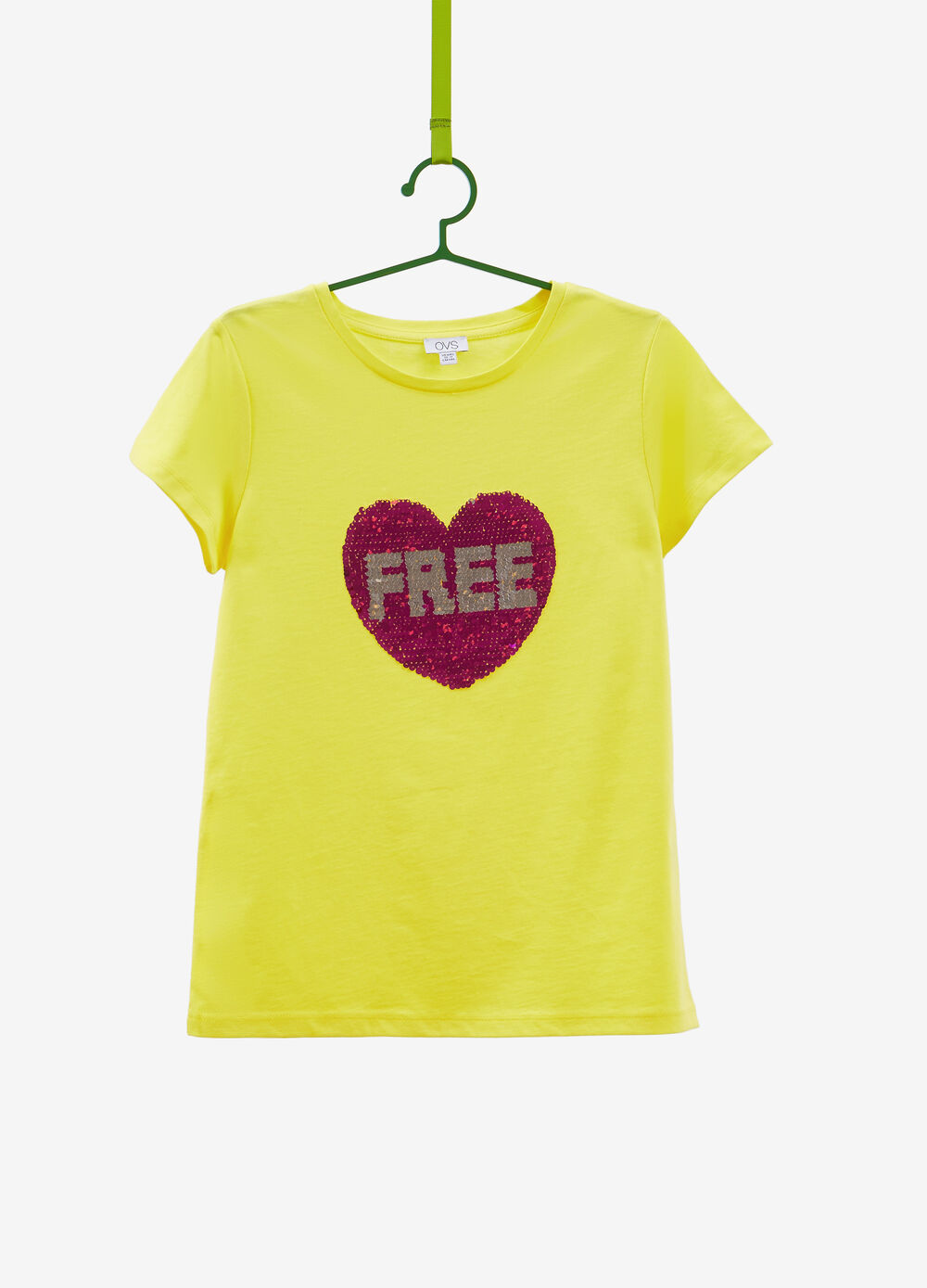 Cotton T-shirt with heart sequins