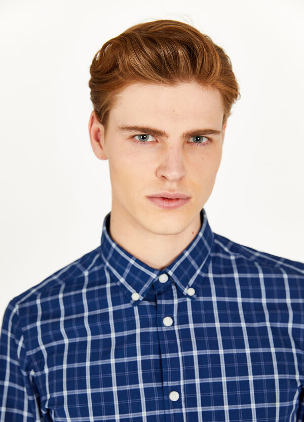 Casual tartan shirt in 100% cotton