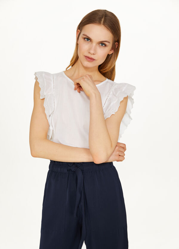 Sleeveless cotton blouse with flounce