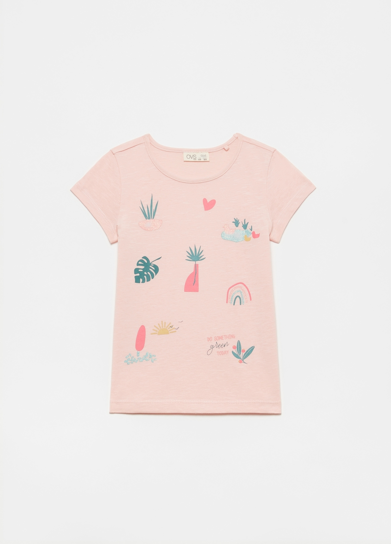 T-shirt with glitter plants print image number null