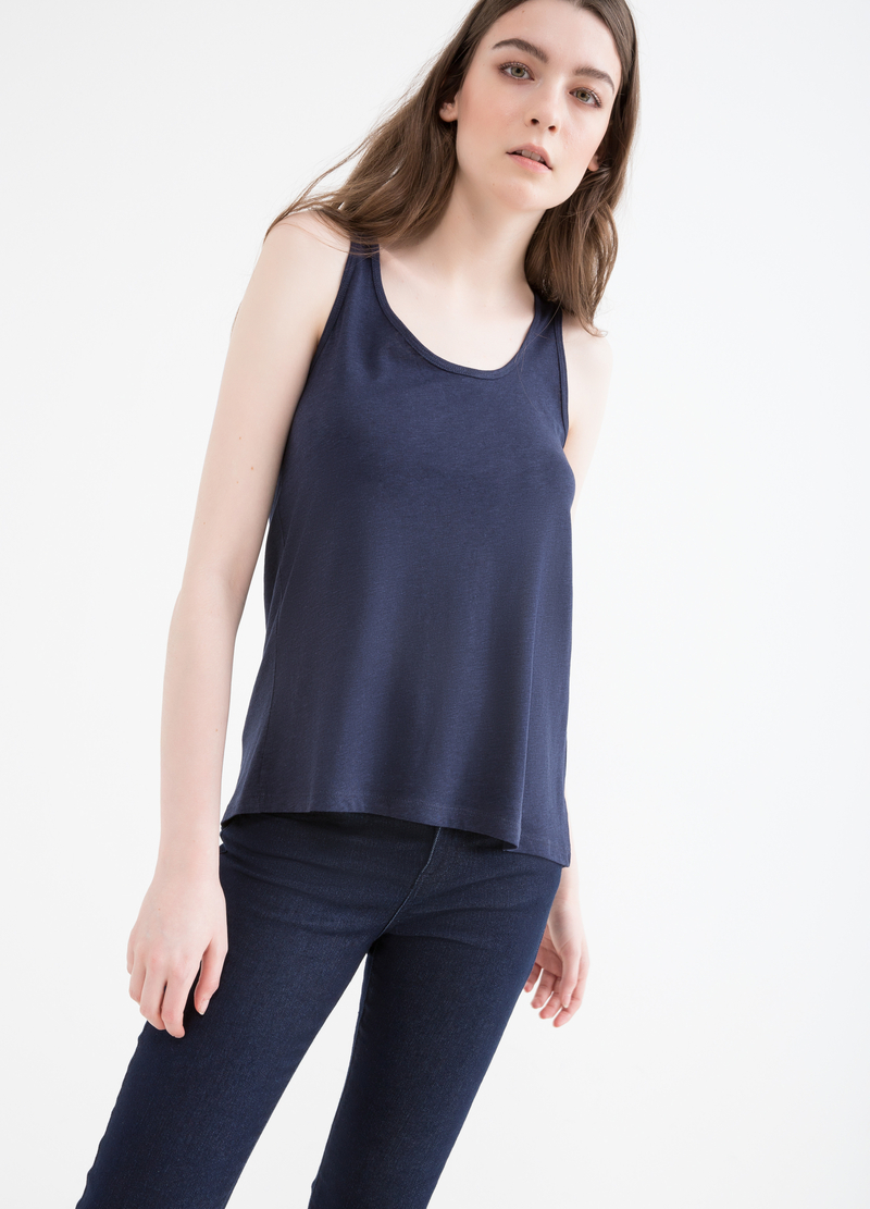 Cotton and viscose top with inserts image number null