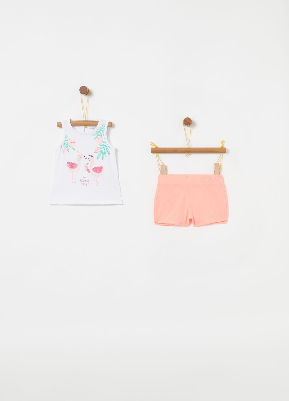 Jogging set tank top shorts fenicotteri