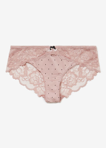 Stretch briefs with lace and all-over print