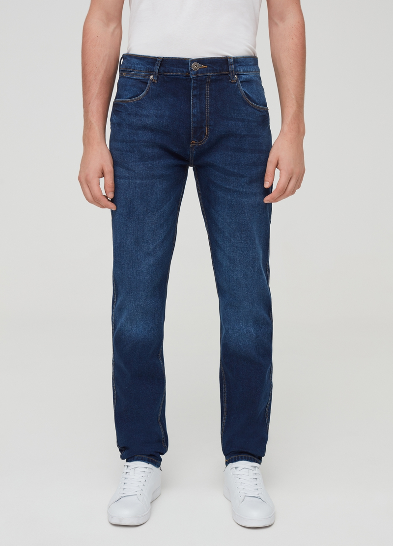 Misdyed-effect slim-fit stretch jeans image number null