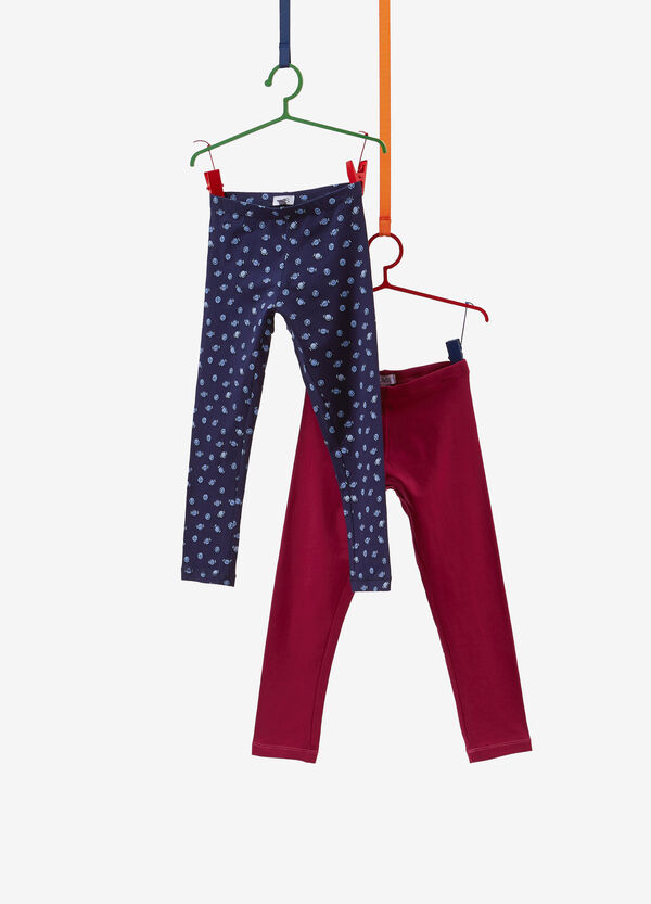 Two-pack cotton leggings with pattern and solid colour