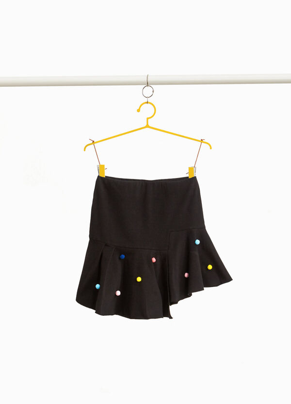 Stretch cotton skirt with pompoms