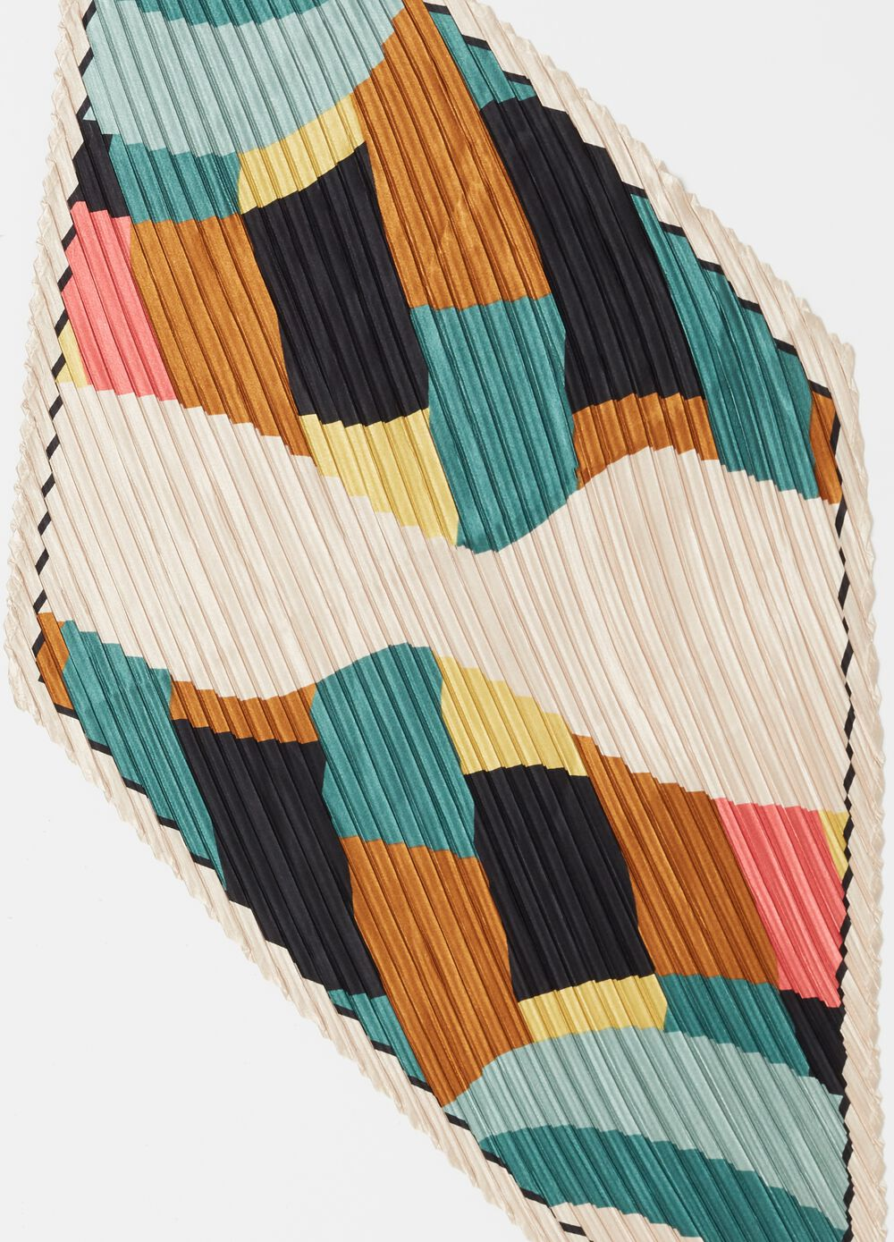 Colour-block patterned pleated foulard