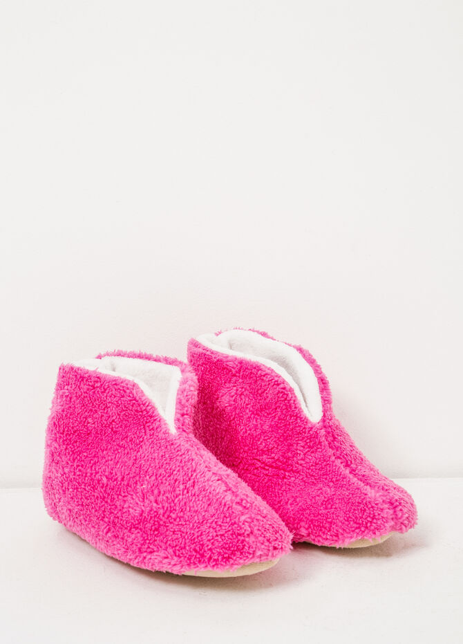 Solid colour faux fur slippers