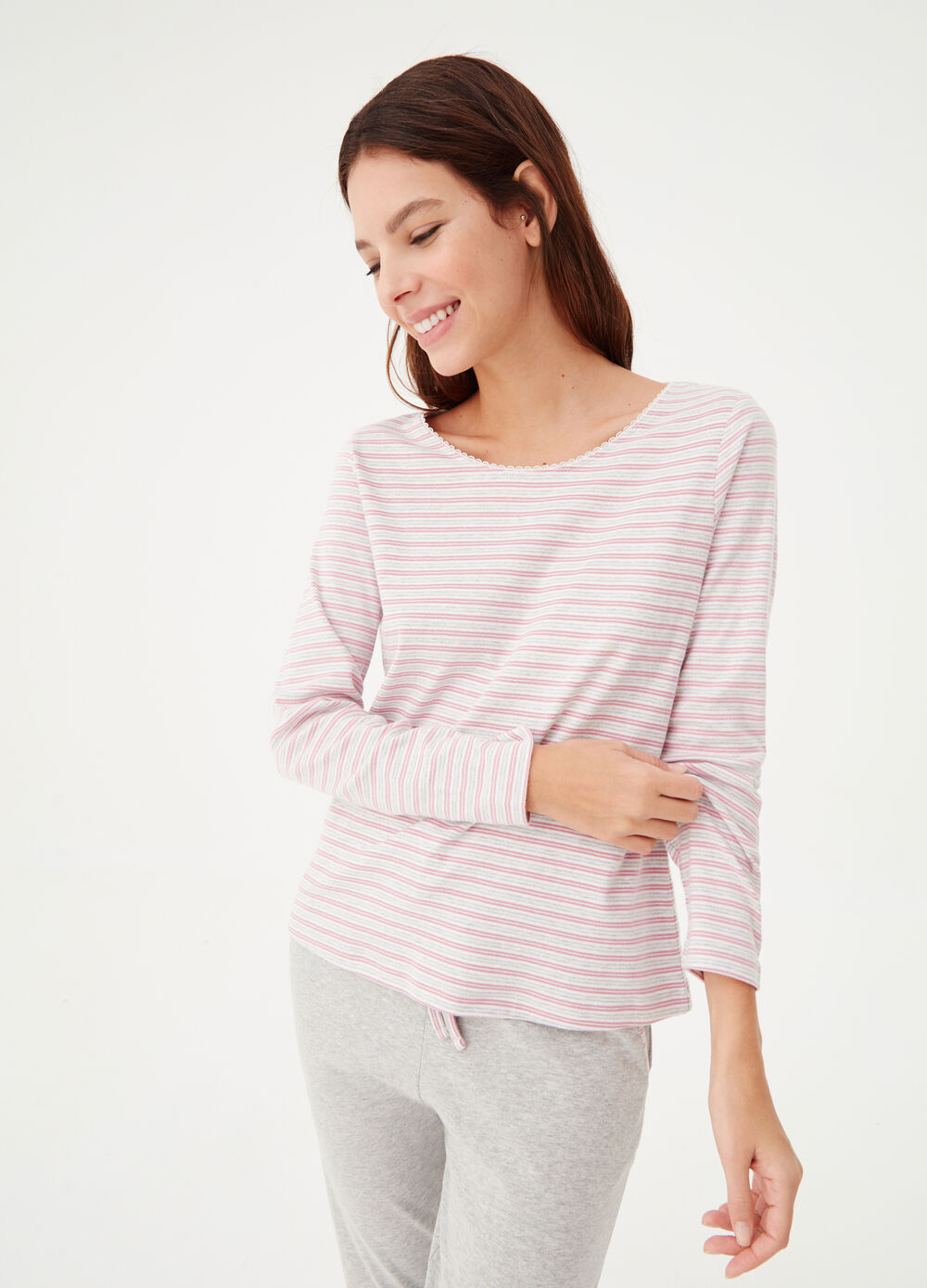 Warm cotton and viscose T-shirt with stripes