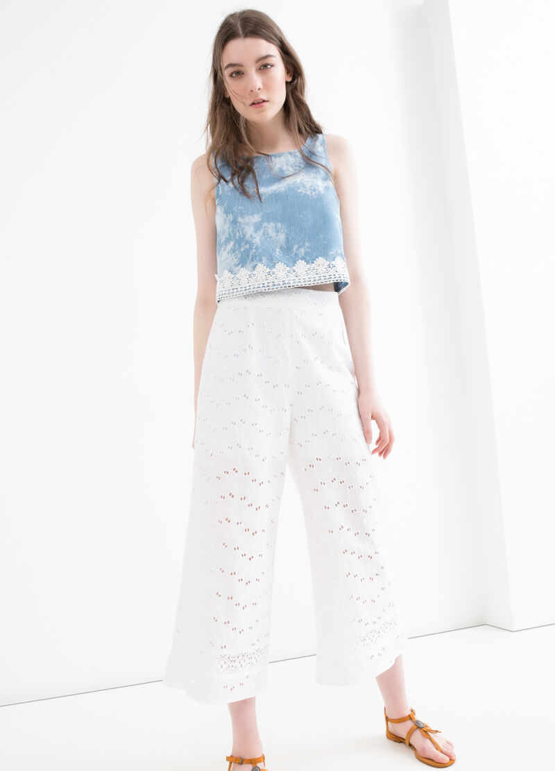 Gaucho cotton trousers with openwork
