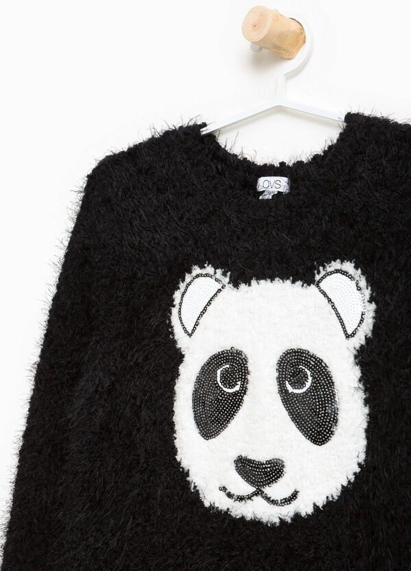 Long knitted pullover with panda print | OVS