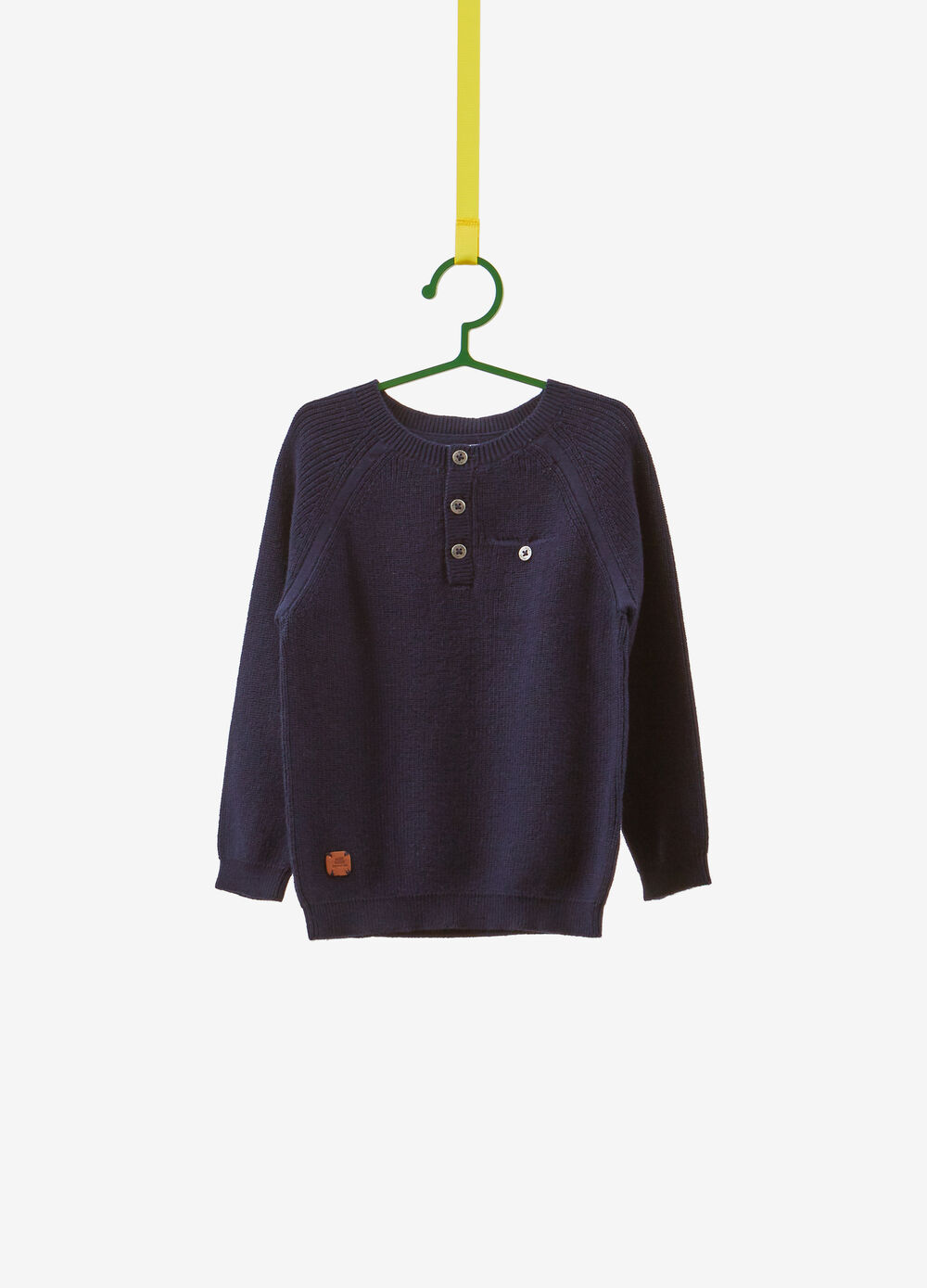 Knitted 100% cotton pullover with pocket