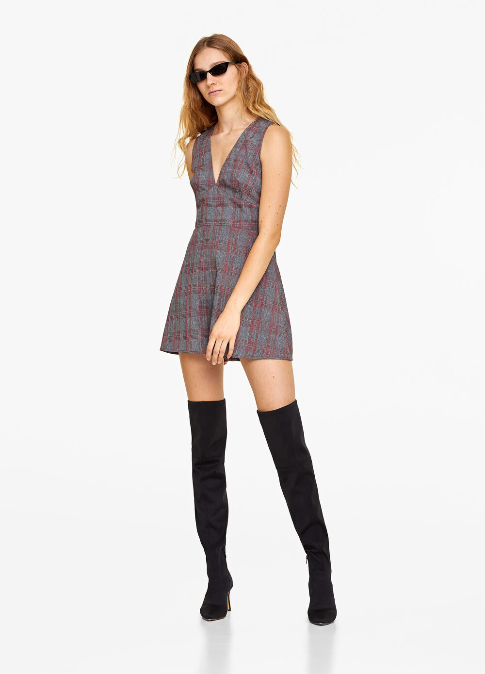 V-neck bodysuit with check pattern