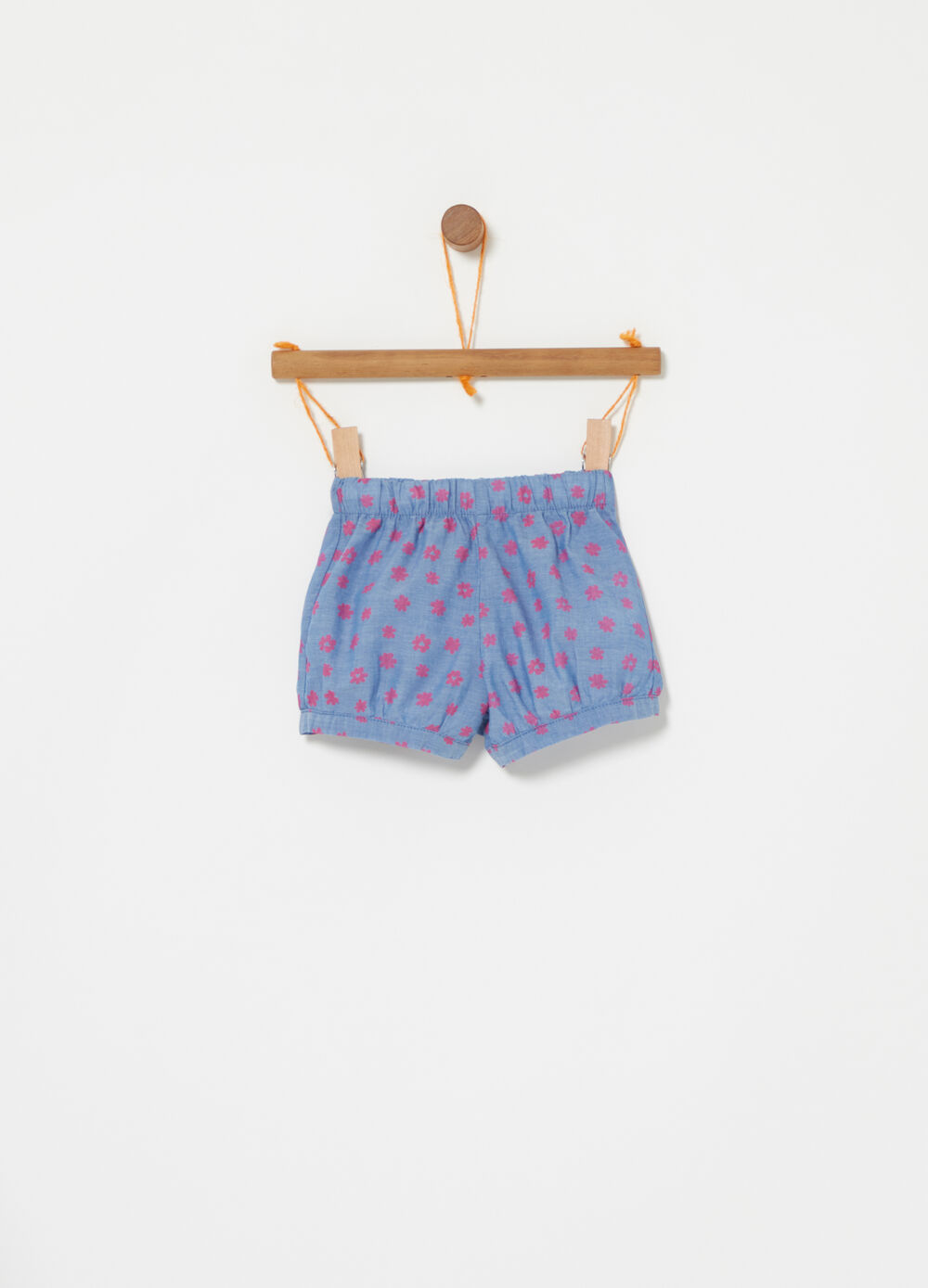 Shorts in denim fantasia floreale
