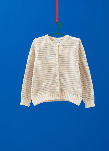 Chenille cardigan with braided weave