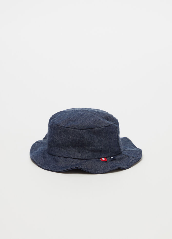 Denim-effect cotton hat