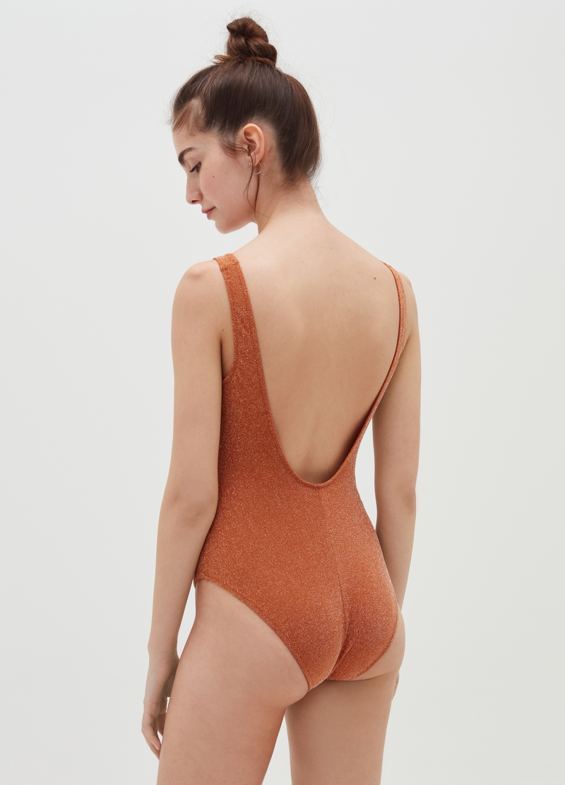 One-piece swimming costume in lurex jersey image number null