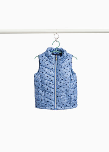 Quilted gilet with printed hearts