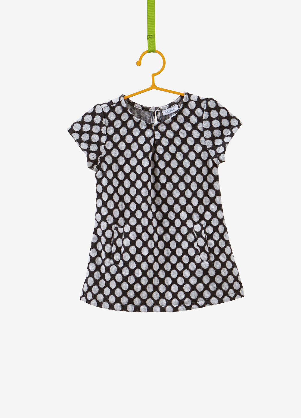 Cotton blend dress with polka dot jacquard