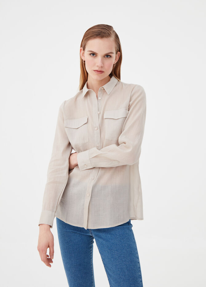 Cotton and ramie shirt with pockets