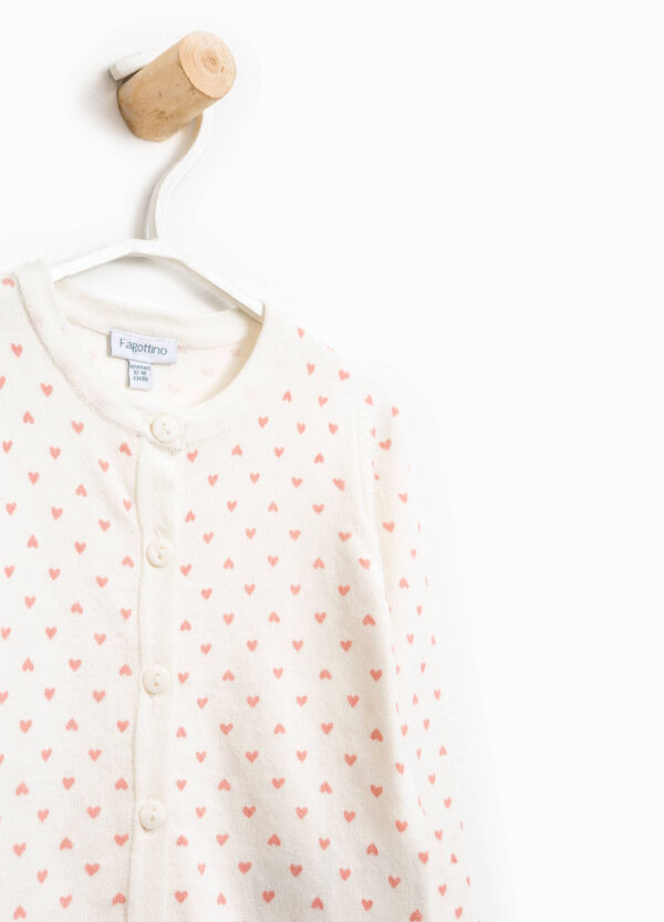Cotton blend hearts cardigan | OVS