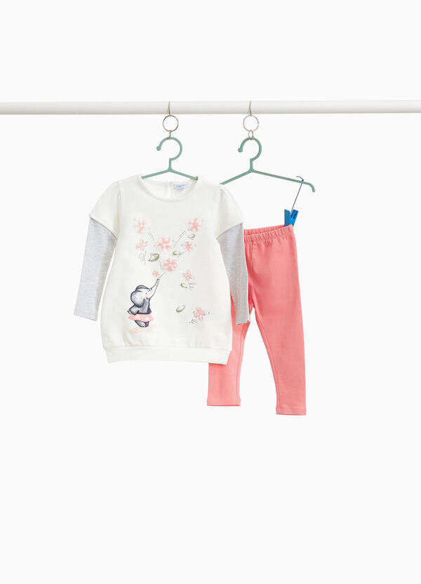 Stretch cotton tracksuit with elephant print