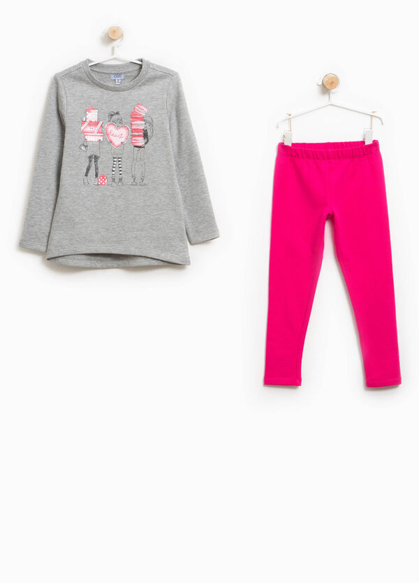 Tracksuit in cotton with glitter print | OVS