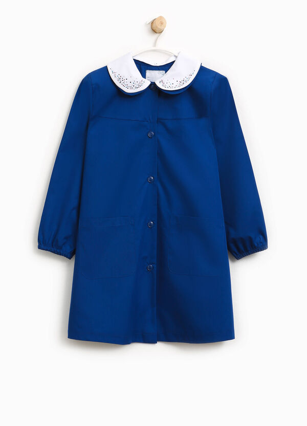 Cotton smock with double collar and diamantés | OVS