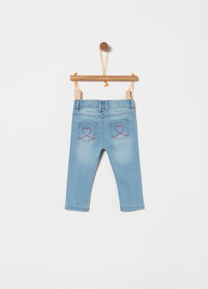 Jeggings in denim stretch con stampa glitter