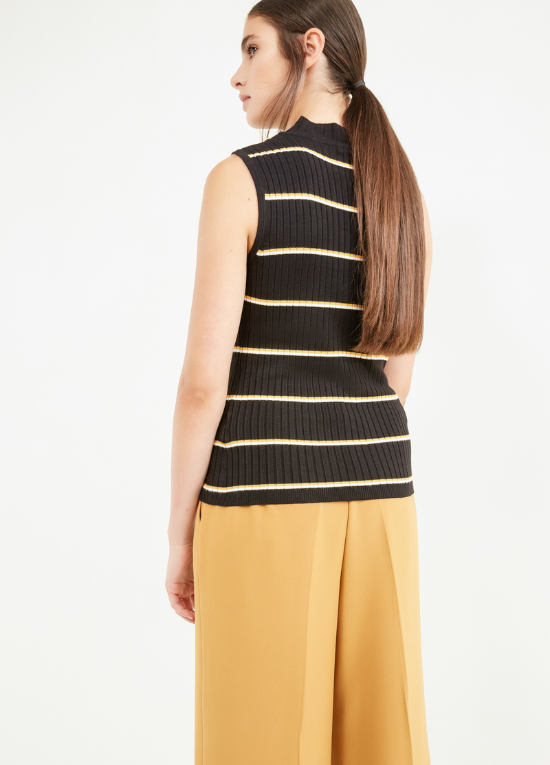 High-neck top with striped ribbing image number null