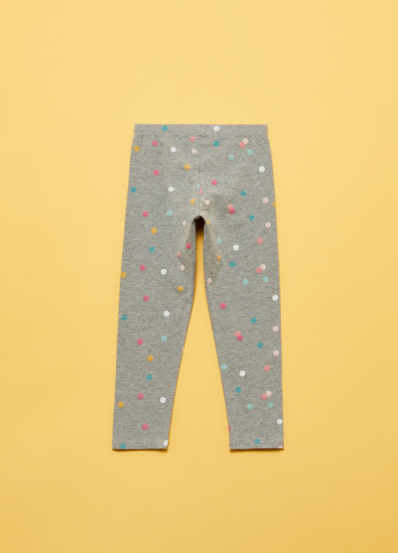 Leggings in cotone e viscosa stampa pois image number null