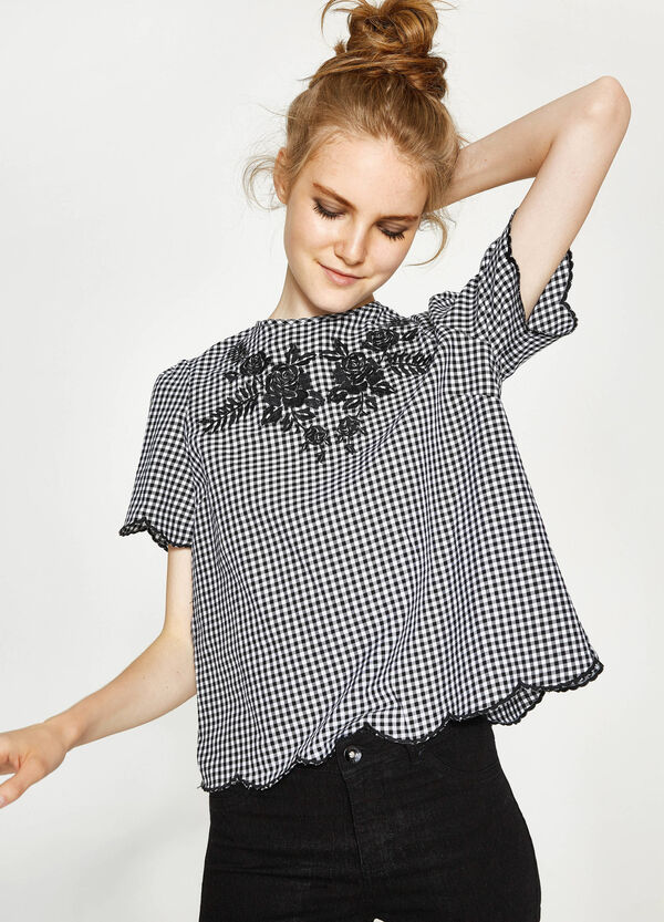 Check cotton blouse with embroidery | OVS